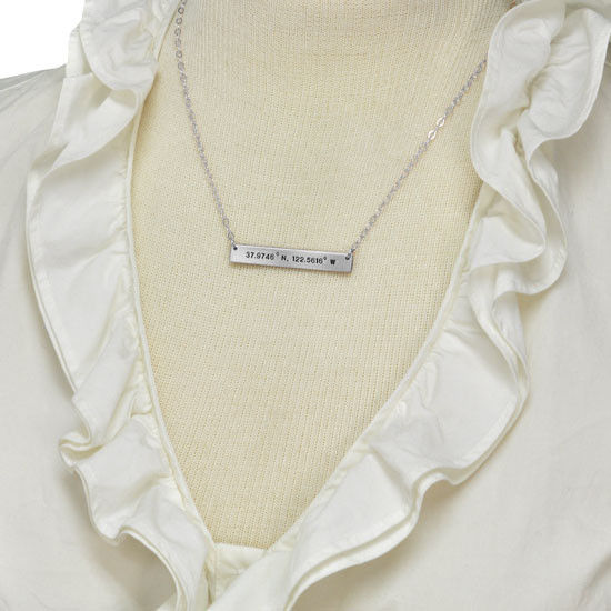 Sterling silver hand stamped coordinates necklace in rectangle