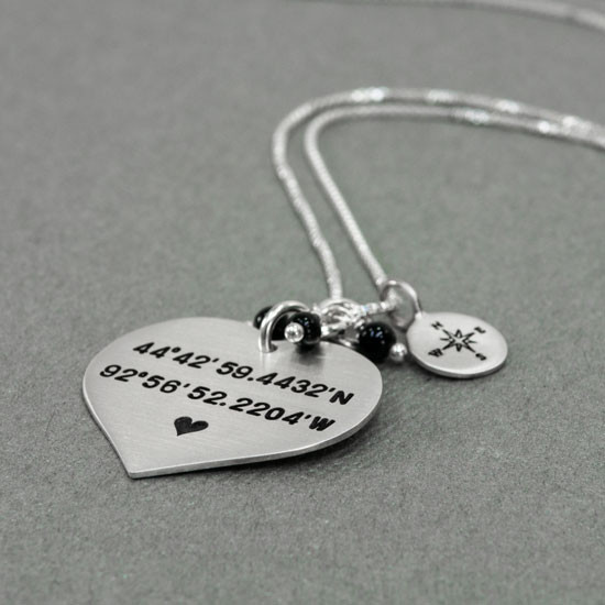 Hand stamped coordinates necklace