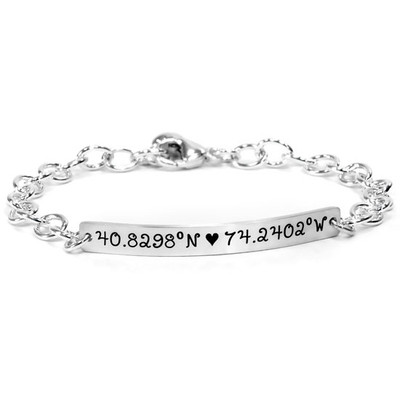 Hand stamped coordinates bracelet