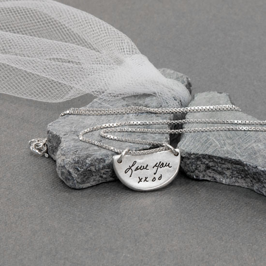 Your actual handwriting on a silver semi circle memorial pendant