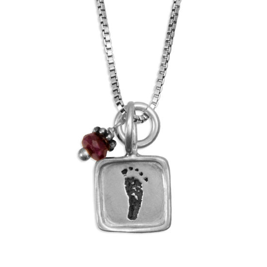 Child's Real Footprints on Necklace