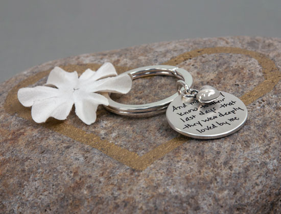 Handwriting on sterling silver key chain remebrance