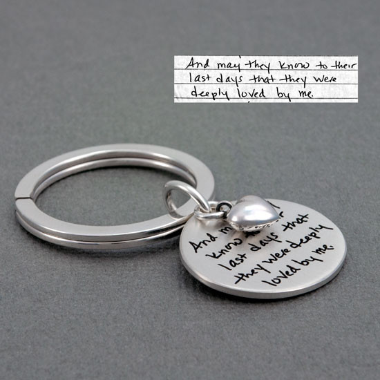 Memorial handwriting key ring sterling silver