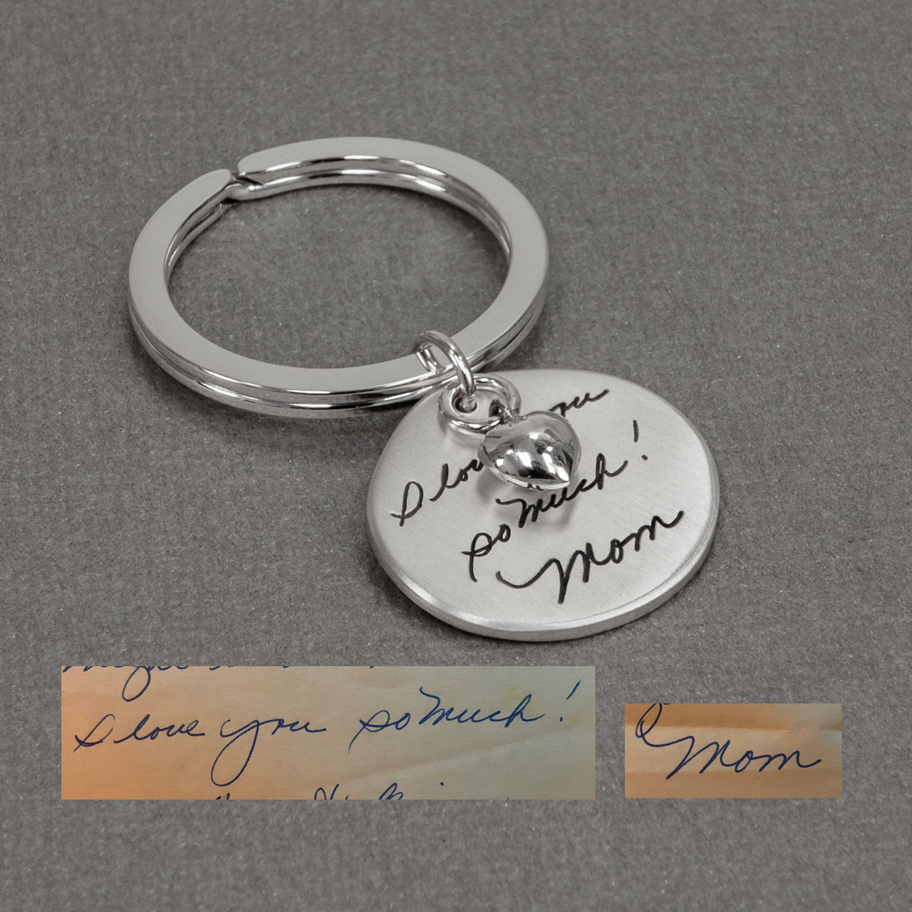 Handwriting on sterling silver key chain, shown with original handwriting