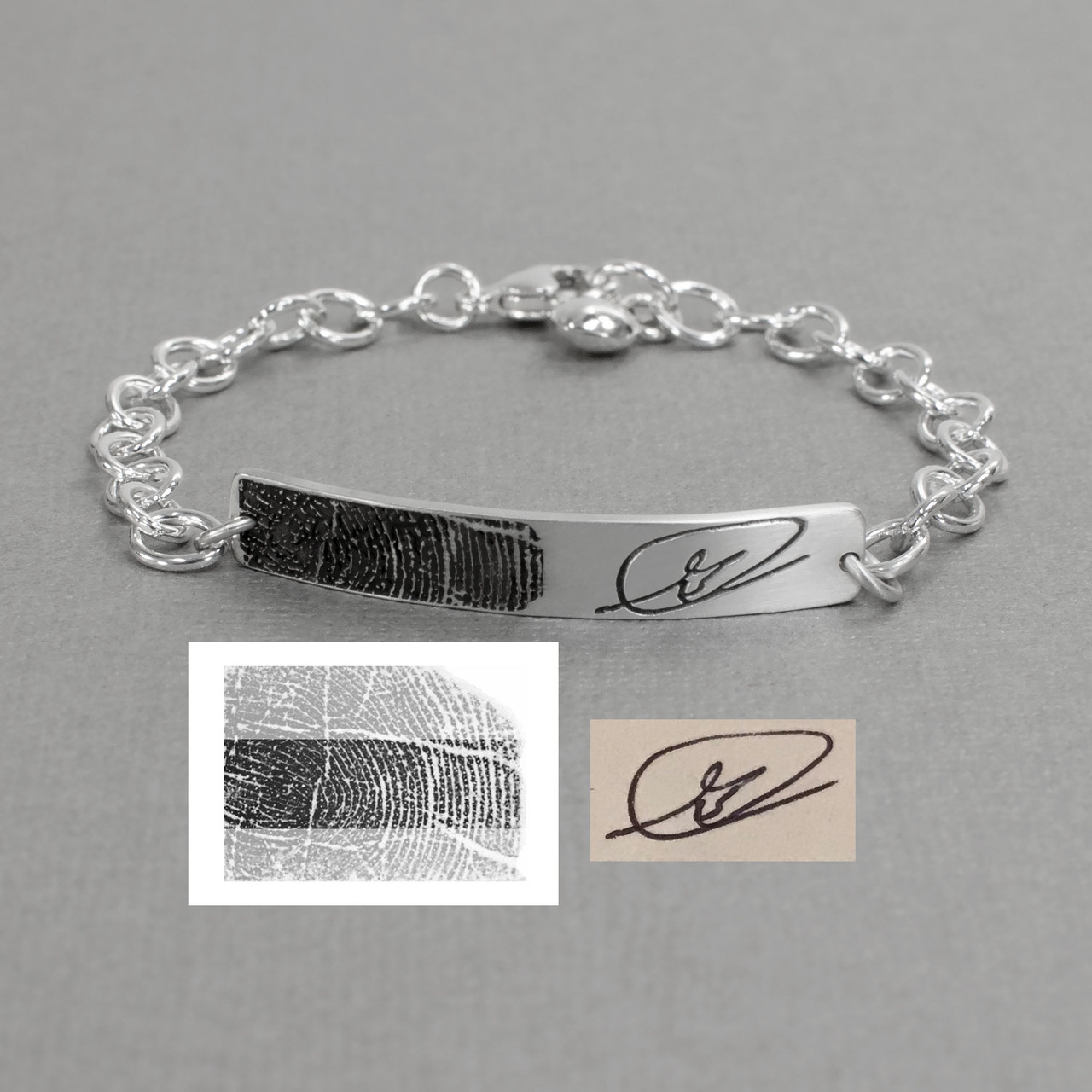 Custom Silver Fingerprint and handwriting ID Bracelet, shown on gray with original handwriting and fingerprint