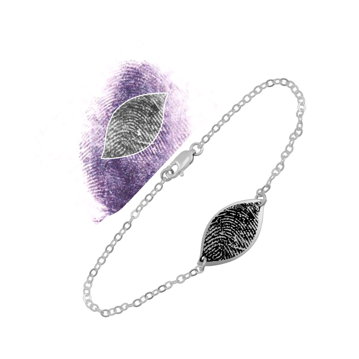 Custom fingerprint petal bracelet in silver, with the fingerprint used to create it