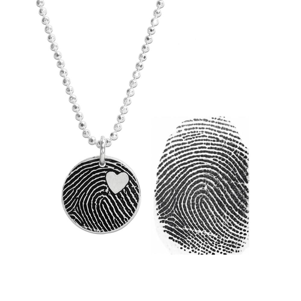 Custom Silver fingerprint necklace, shown with original fingerprint