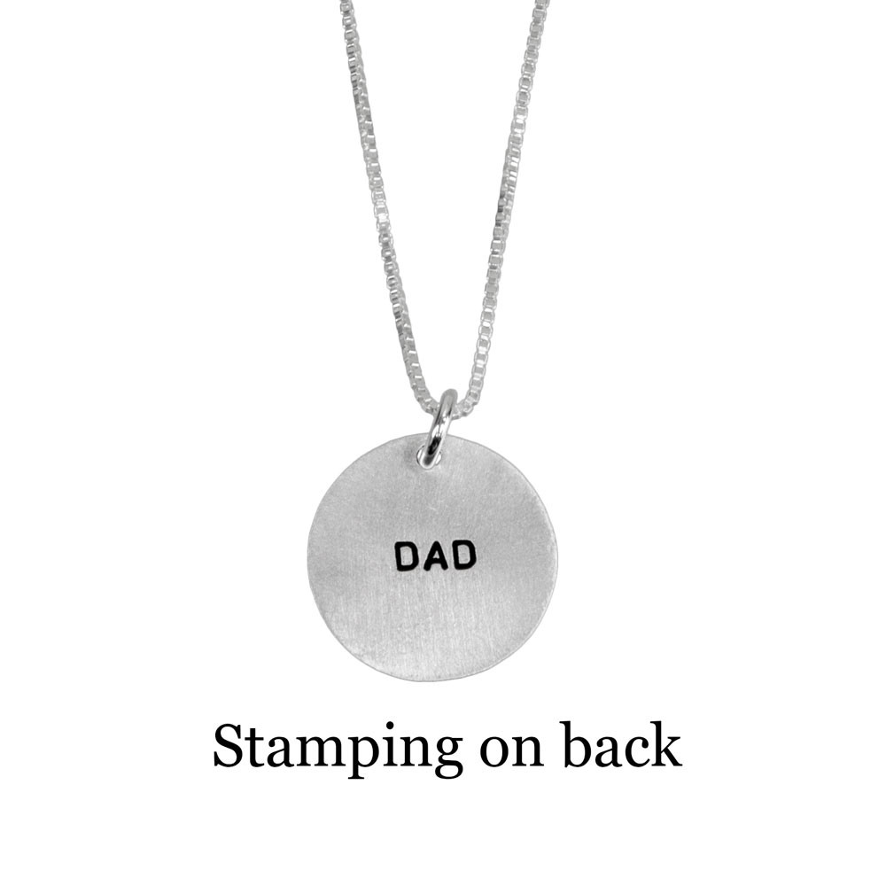 Custom Silver fingerprint necklace, shown with optional stamped message on back