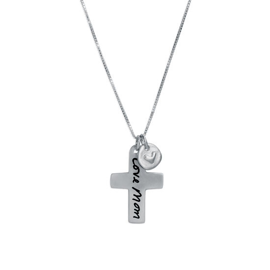 Custom Handwriting Cross Memorial Necklace