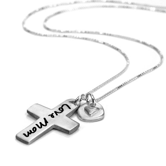 Custom Handwriting Cross Remembrance Necklace, with handwritten note Love Mom, shown from side close up