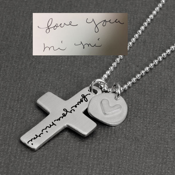 Custom Handwriting Cross Necklace, with handwritten note Love You Mi Mi, shown from side close up, with original handwriting