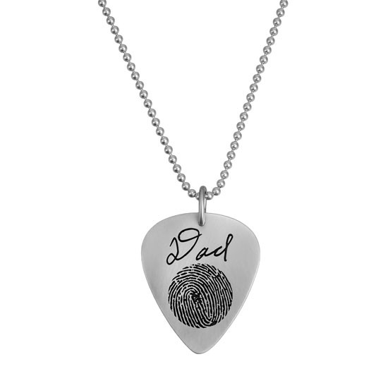 Custom actual fingerprint on guitar pick necklace sterling silver