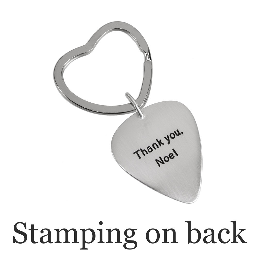 Custom actual fingerprint on guitar pick necklace sterling silver, shown with optional stamping on back