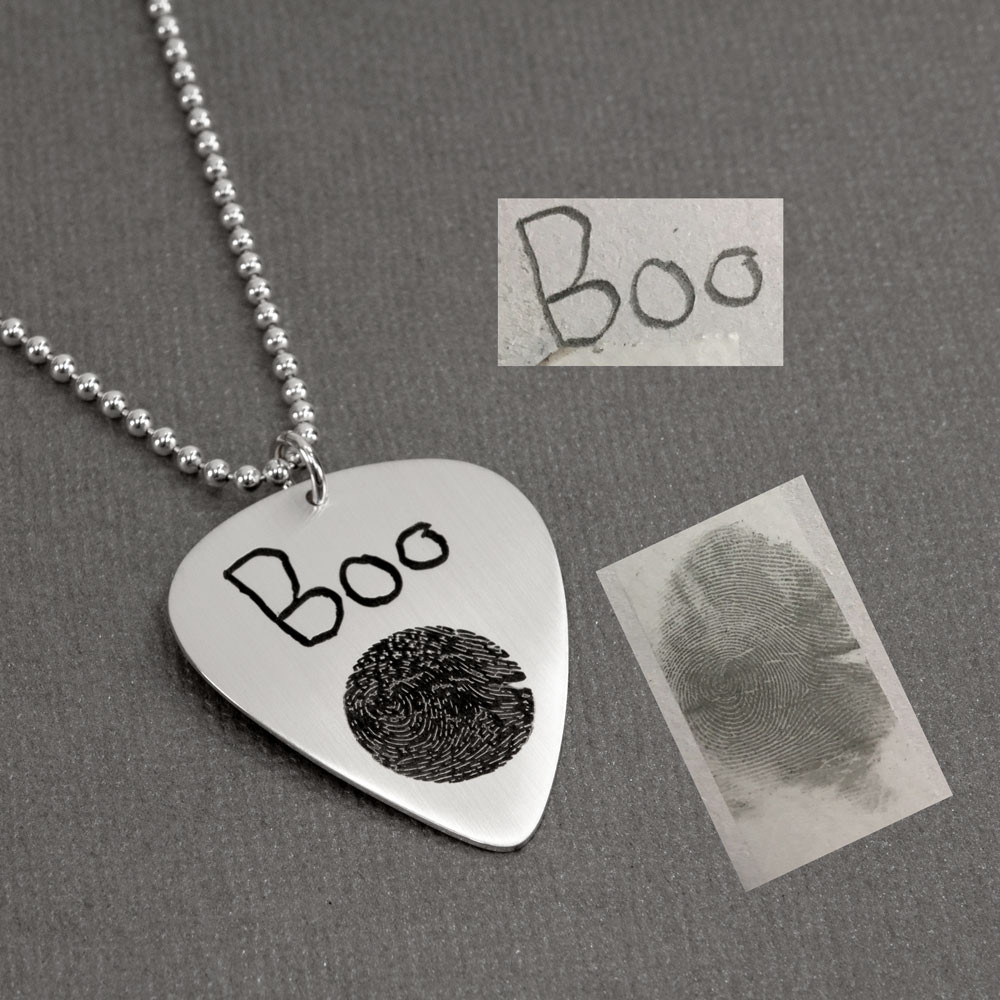 Custom actual fingerprint on silver guitar pick shown with original handwriting & fingerprint used to create it