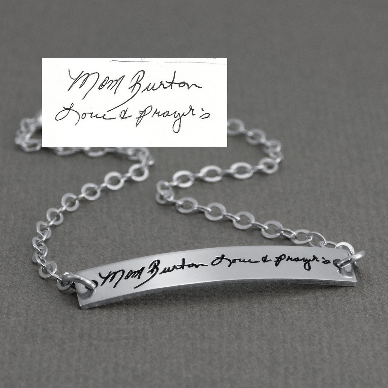 Dainty bracelet with your actual writing in sterling silver, shown from the side close up, with the original handwriting