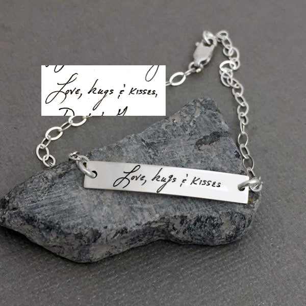Dainty bracelet with your actual writing in sterling silver, shown close up