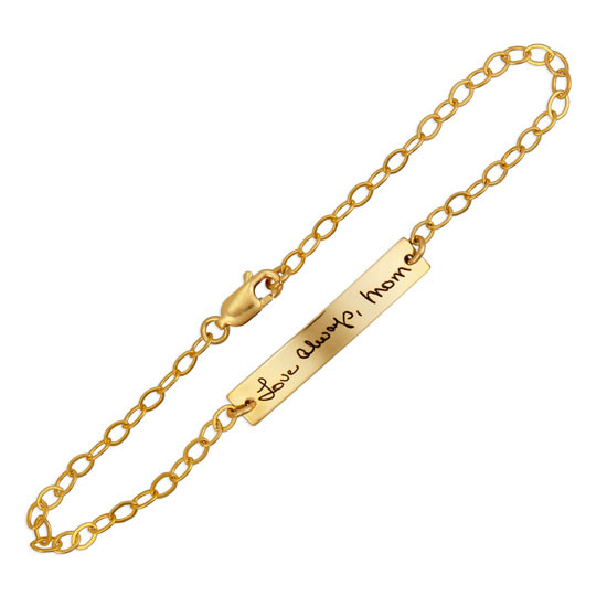 Dainty handwriting bracelet in gold