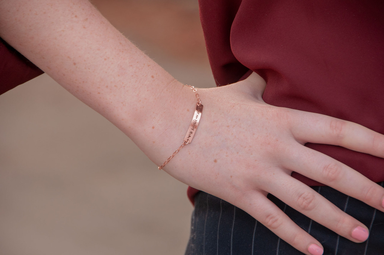 Dainty bracelet with your actual writing in rose gold, shown on model close up