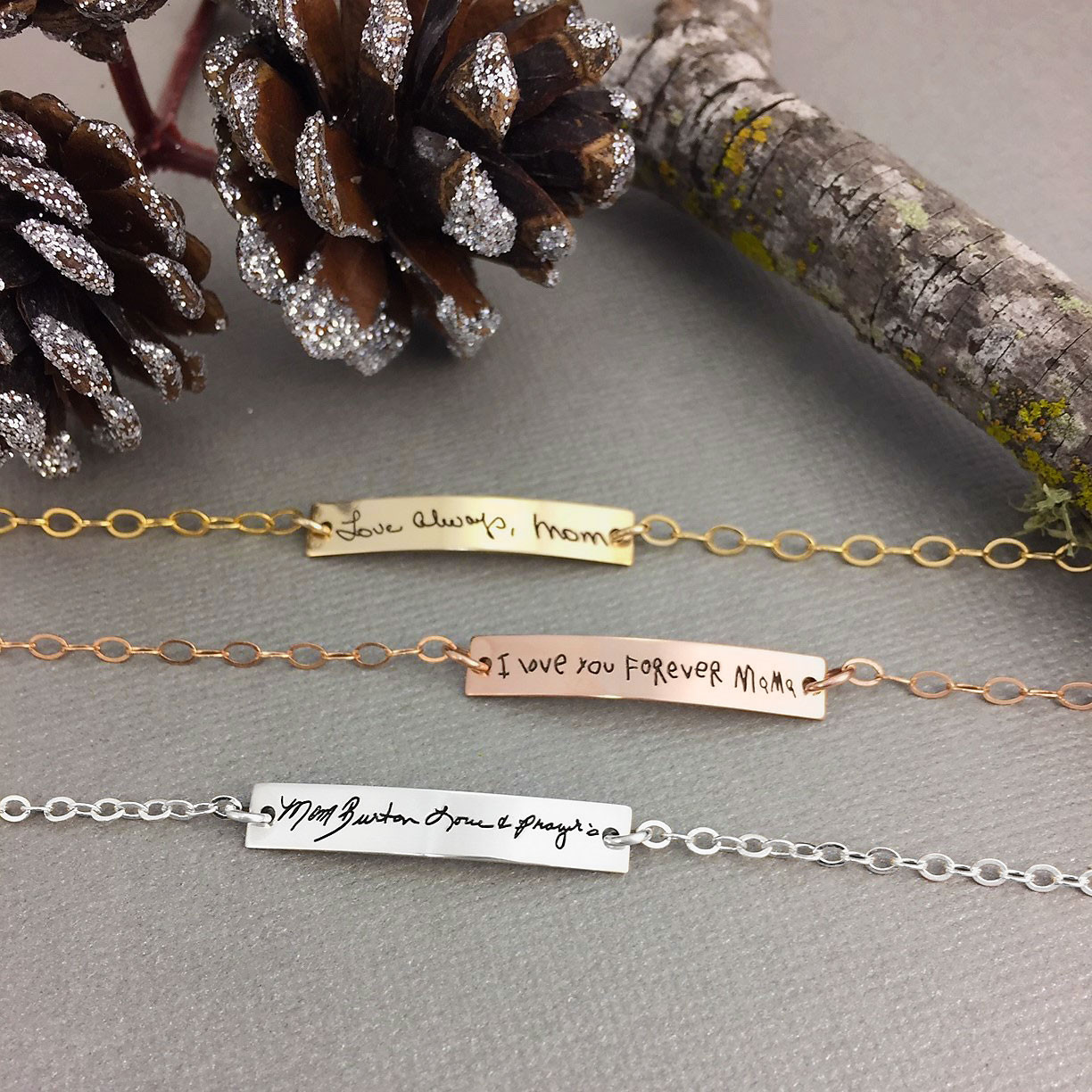 Dainty bracelet with your actual writing in rose gold, gold and silver