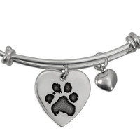 Expandable sterling bracelet with custom paw print