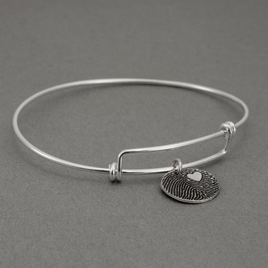 Expandable sterling silver bracelet with custom fingerprint pendant