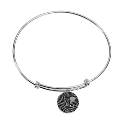 Adjustable sterling silver bracelet with custom fingerprint charm