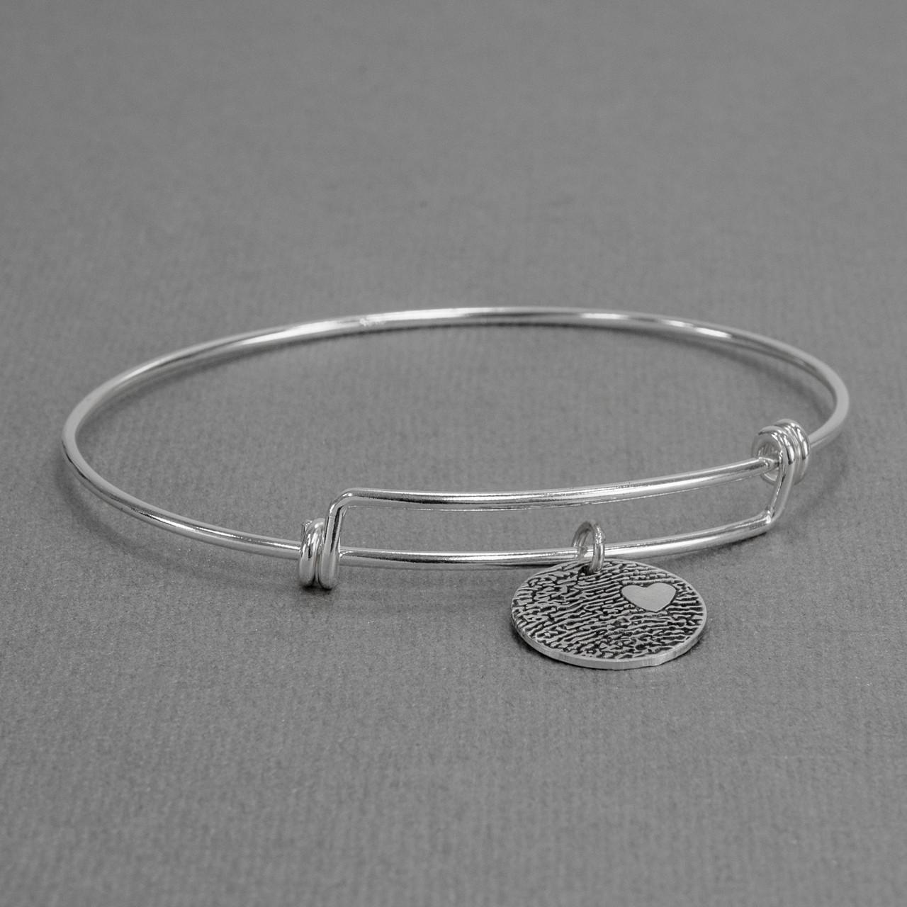 Expandable sterling silver bracelet with custom fingerprint pendant