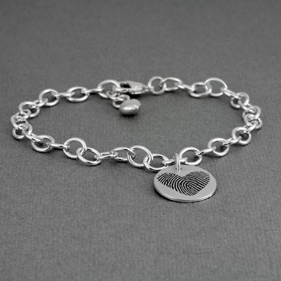 Actual fingerprint charm bracelet
