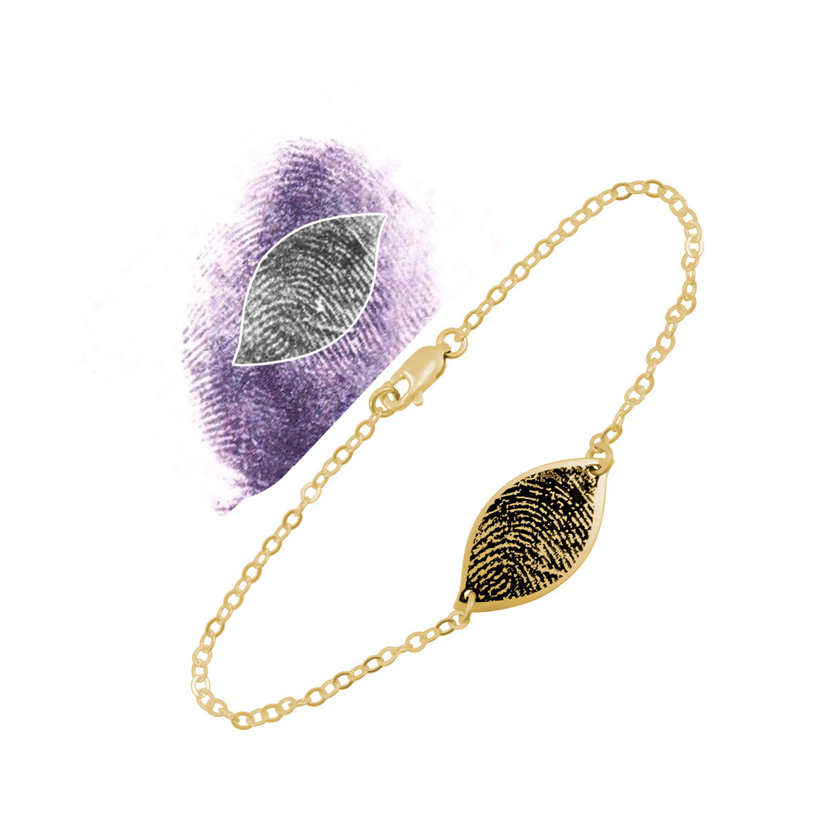 Custom fingerprint petal bracelet in gold, with the fingerprint used to create it