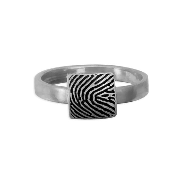 custom square shaped fingerprint jewelry ring in sterling silver, shown on white, close up