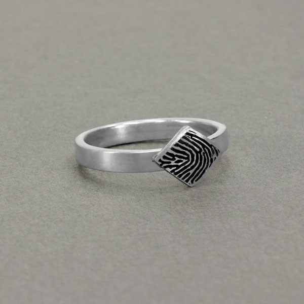 custom diamond shaped fingerprint jewelry ring in sterling silver
