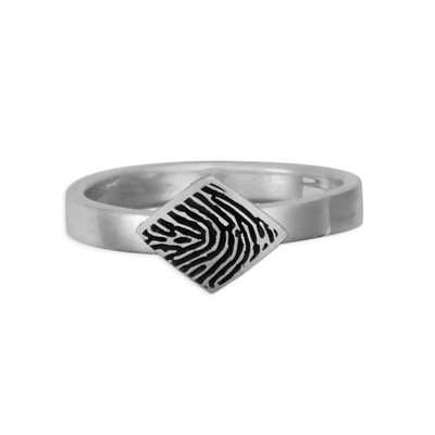 custom diamond shaped fingerprint jewelry ring in sterling silver on white background