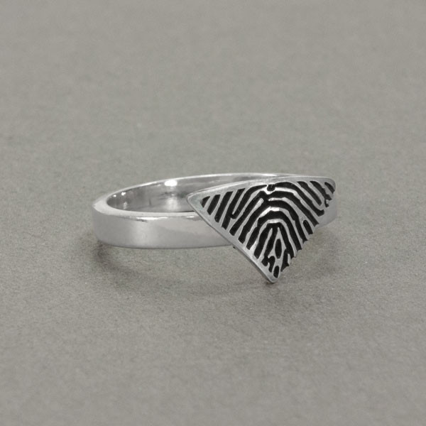 custom triangle shaped fingerprint jewelry ring in sterling silver, shown from the side