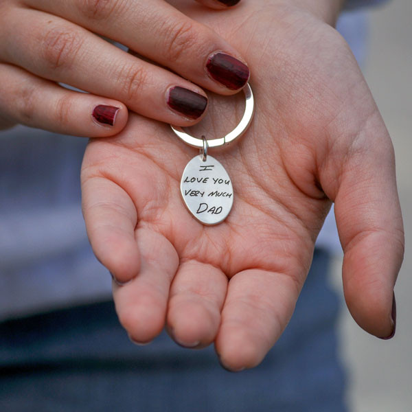 Silver oval handwriting signature key ring with your actual handwriting