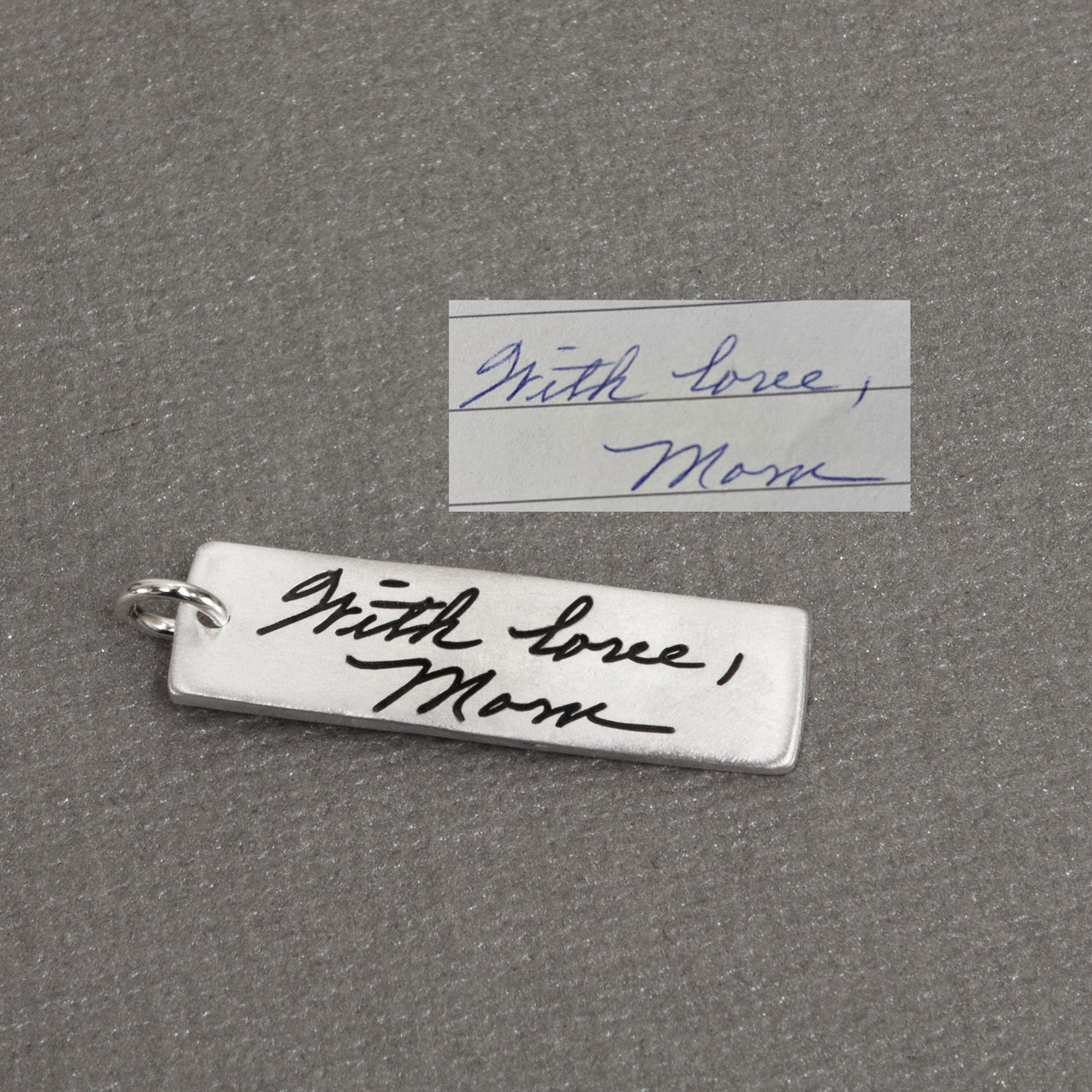 Custom Handwriting Tag in sterling silver, with actual handwriting,  shown from the top
