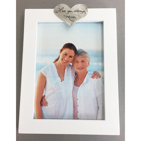 Custom handwriting on photo frame, with actual handwriting etched on a pewter heart