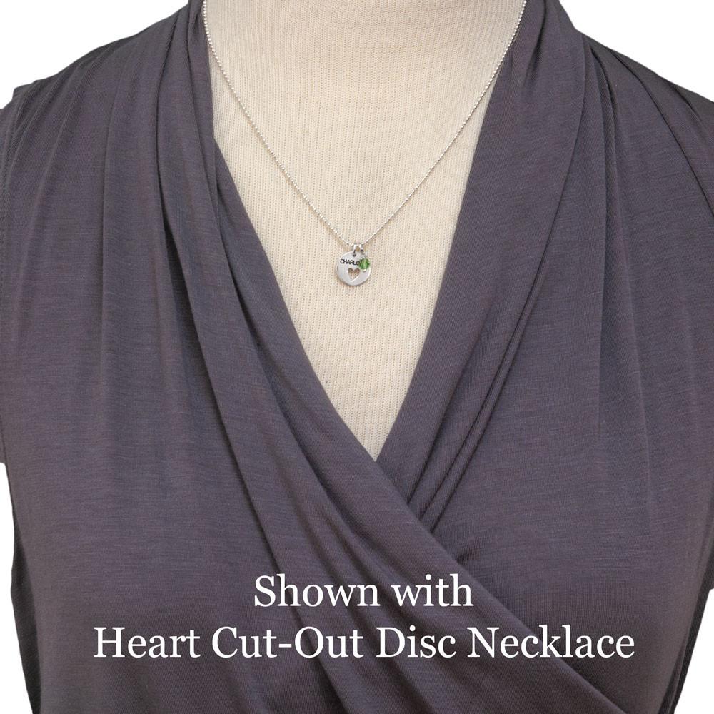 Swarovski Crystal Small Round Birthstone, shown on a necklace