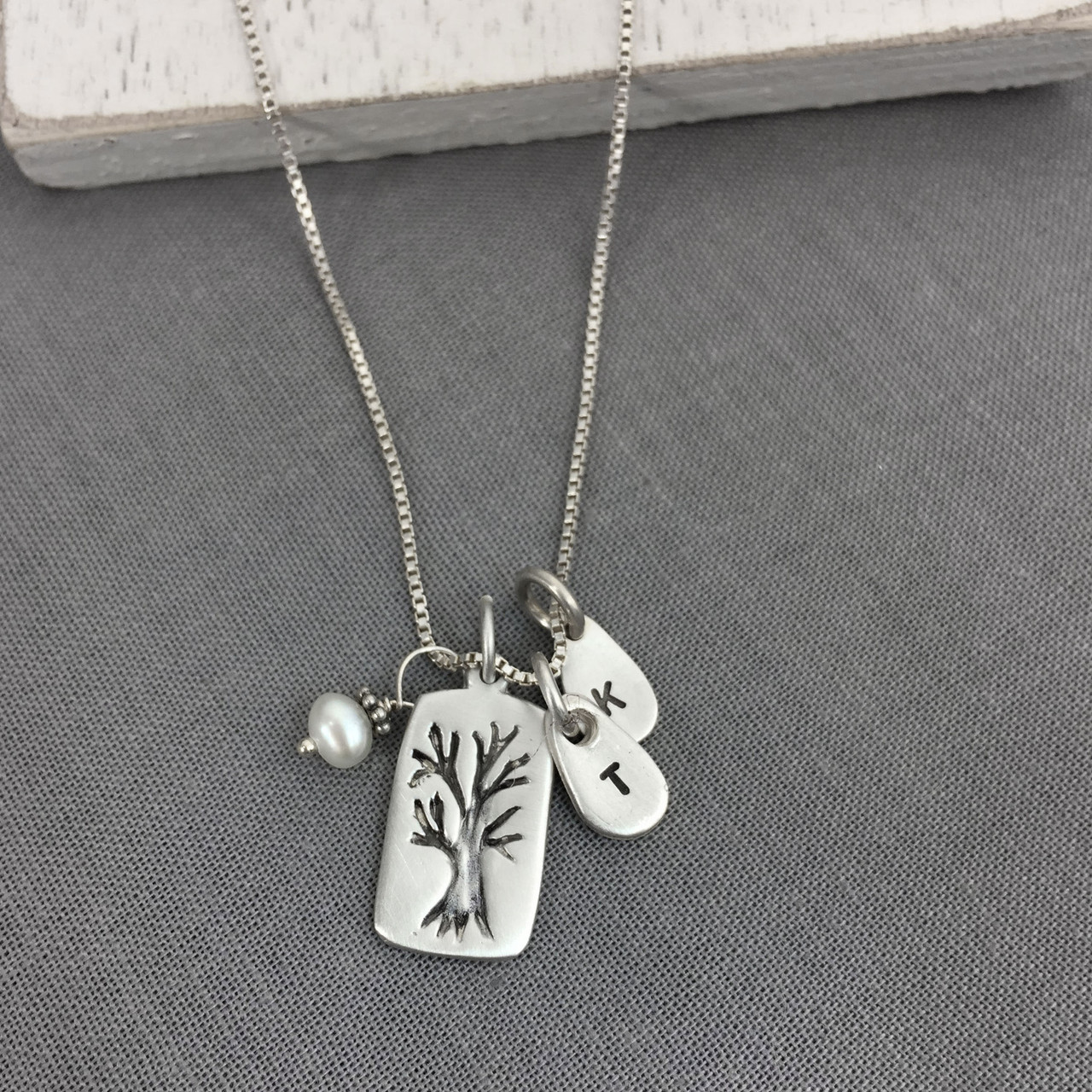 Hand Stamped Family Tree Initials Necklace