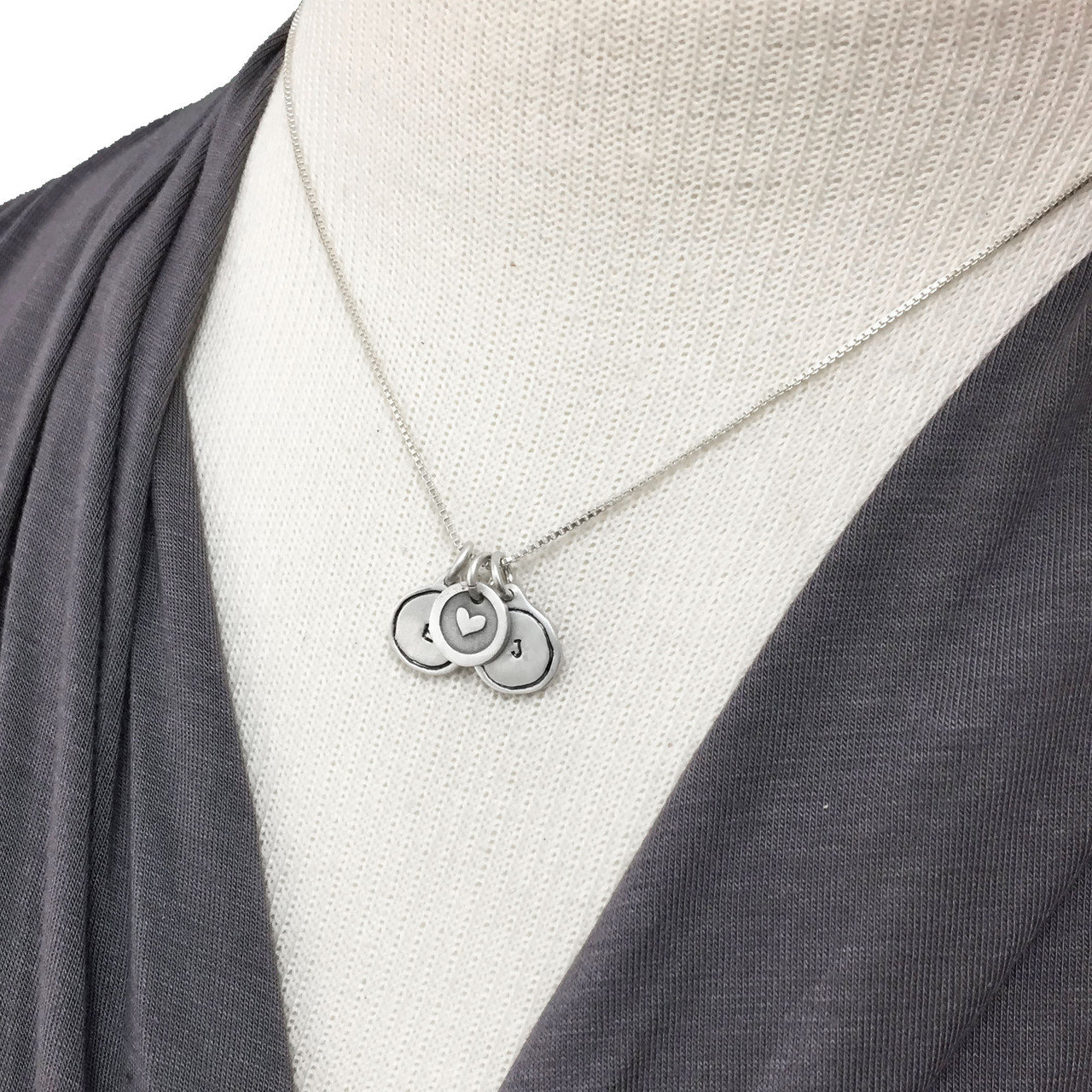 Tiny Framed Initial Silver Charm Necklace on model