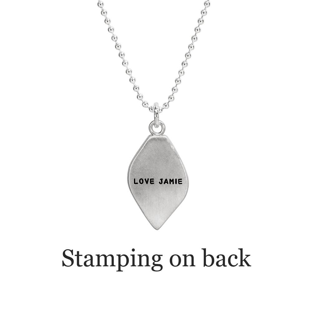 Stamping on back of leaf necklace