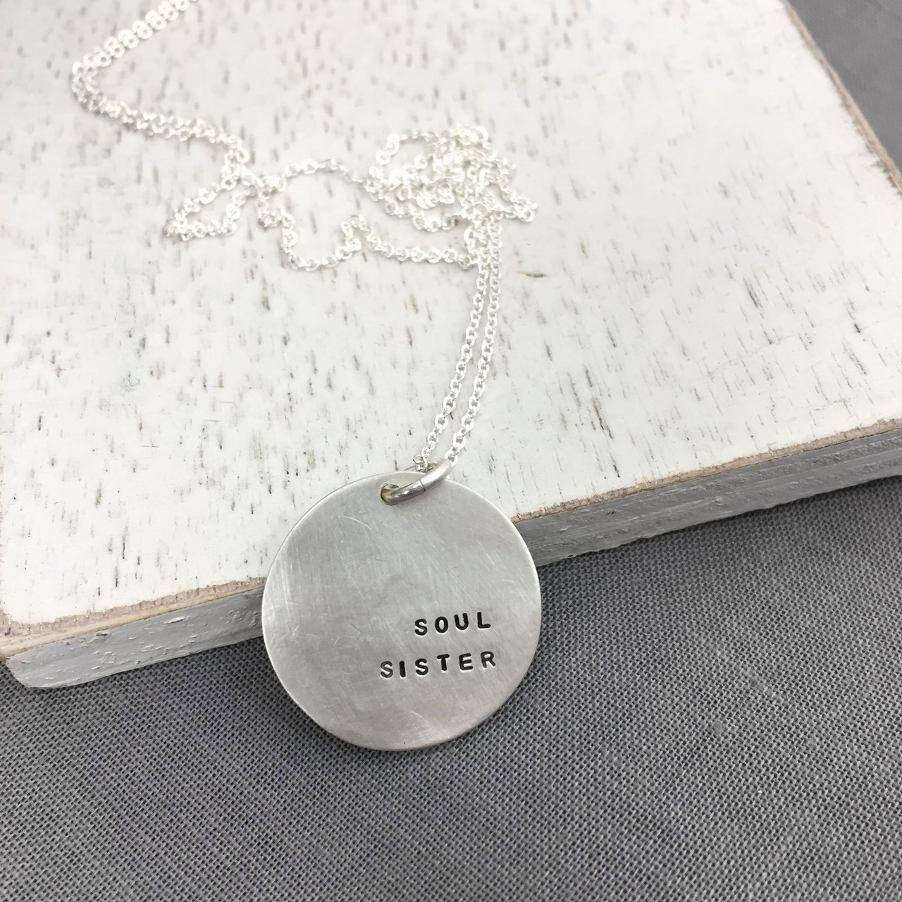 Sterling silver soul sister necklace gift for friend