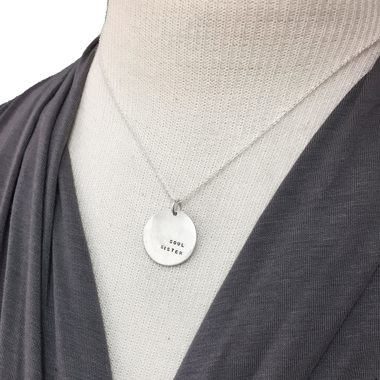 Sterling silver soul sister hand stamped necklace bridesmaid gift