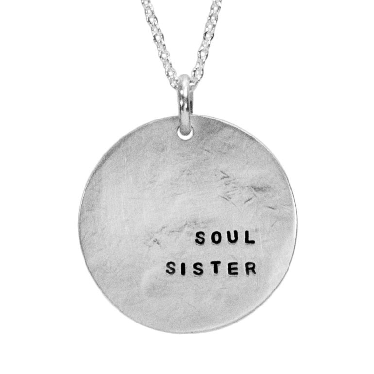 Sterling silver soul sister hand stamped necklace bridesmaid gift, shown close up on white