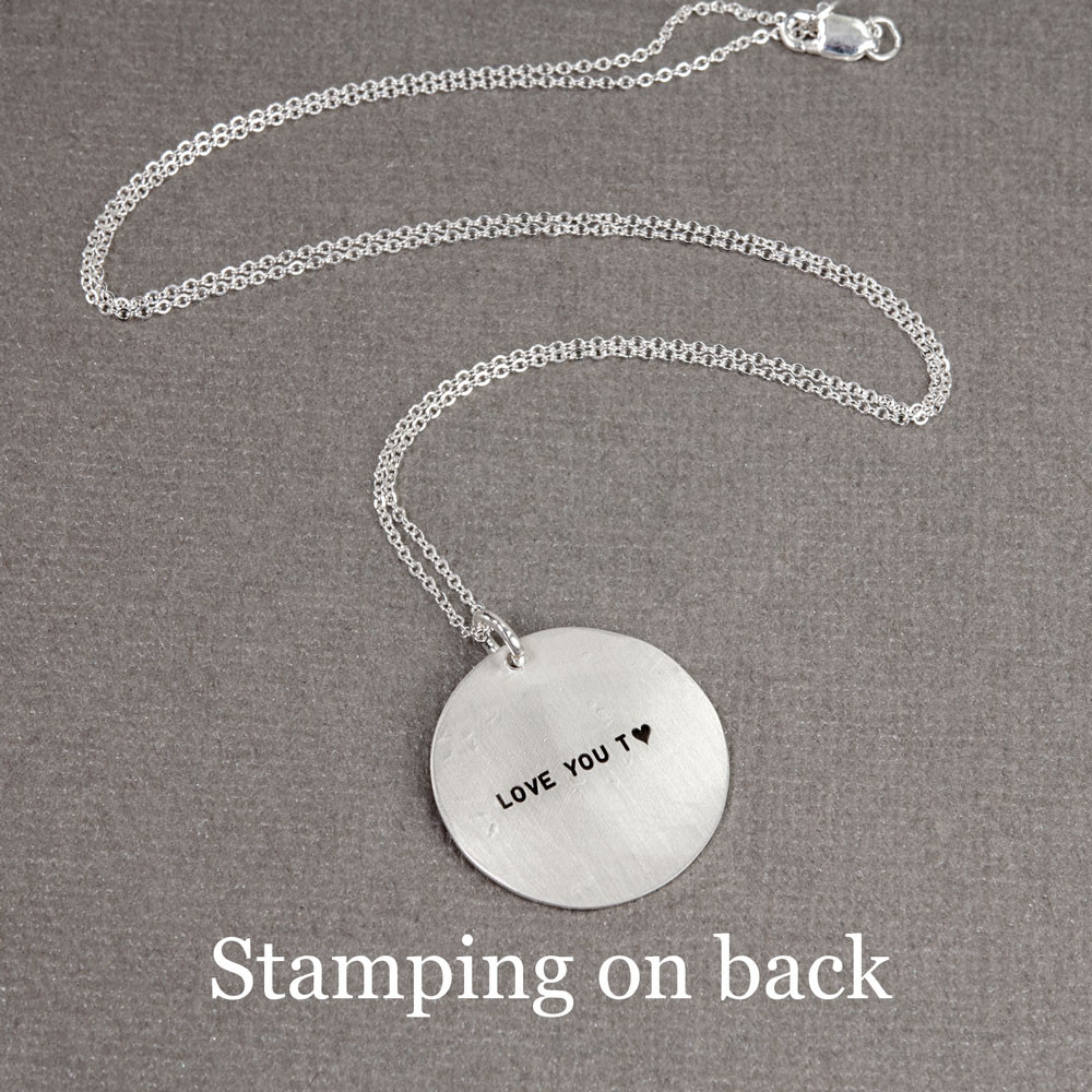 Sterling silver soul sister hand stamped necklace bridesmaid gift, shown with stamped message on back