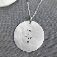 Custom wedding date silver necklace personalized with your names, date and tiny heart