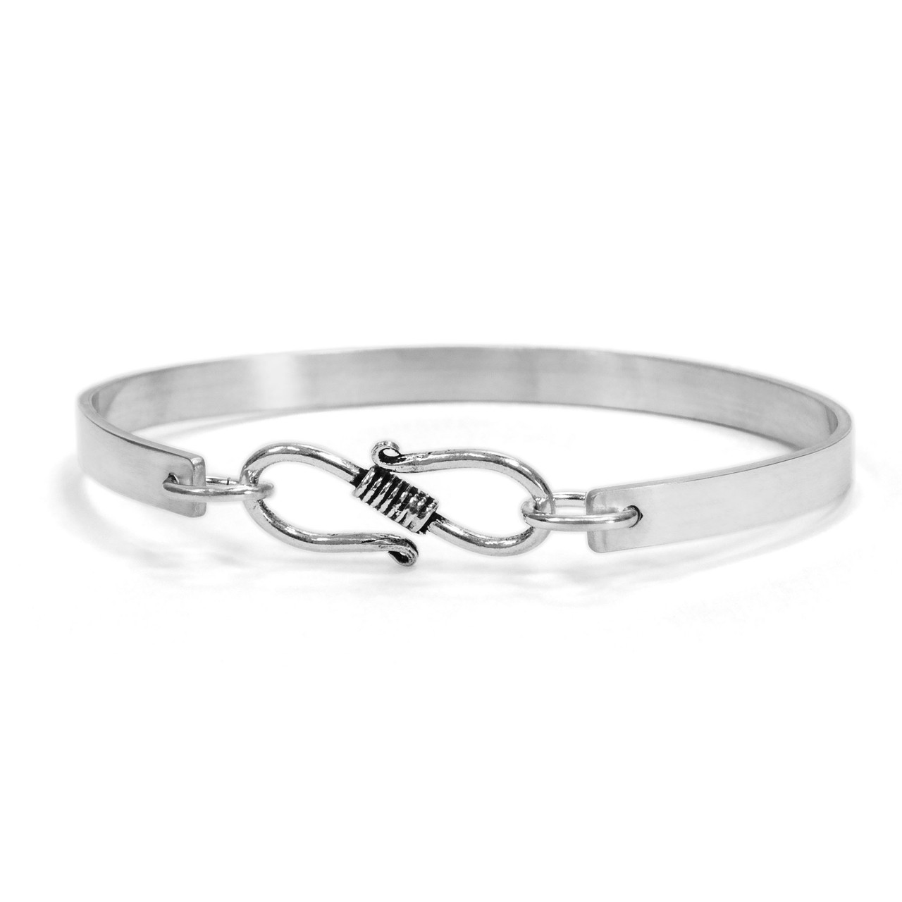 Sterling silver handwriting cuff bracelet with clasp, shown from the back on white