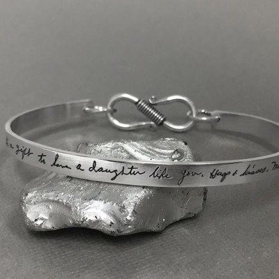 Handwritten cuff bracelet with clasp in sterling silver