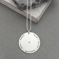 Hand stamped mother's necklace with tiny font