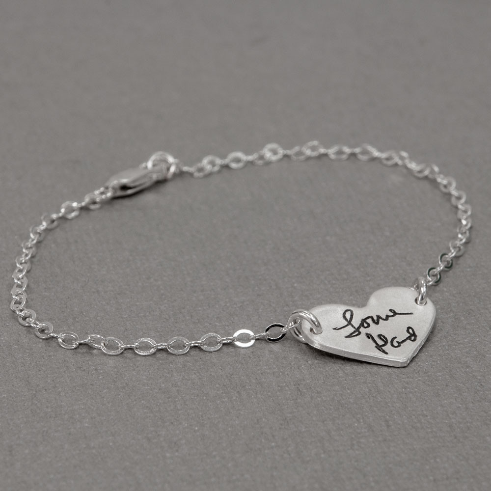 Sweet heart handwriting bracelet engraved with Love Dad