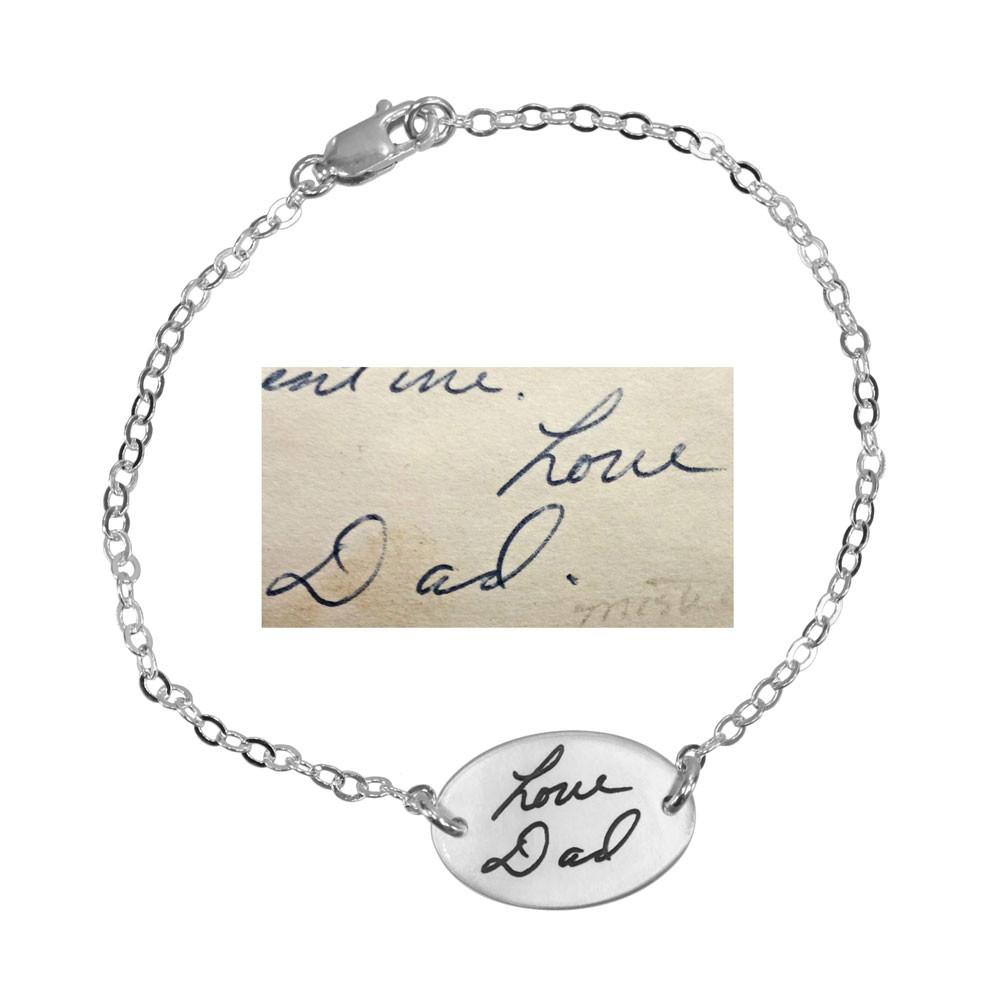 Sweet Oval Handwriting Bracelet in silver